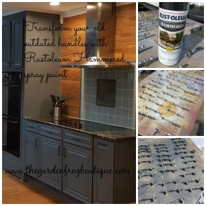 Kitchen makeover on a tighter budget. One tip is to use Rustoleum Hammered spray paint to update and change the look of your handles