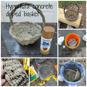 Dip your wicker basket in hypertufa concrete for the garden.