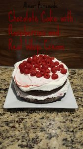 Almost Homemade Chocolate Cake with Real Whip Cream and Raspberries recipe