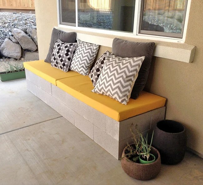 Cinder Blocks Outdoor Cushioned Bench Plants Patio Furniture DIY