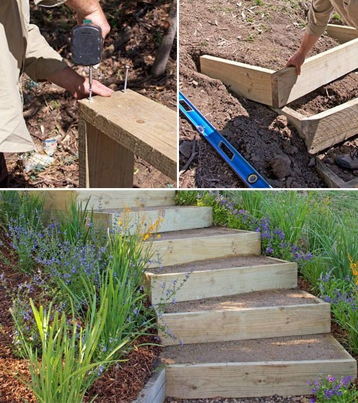 Step By Step Diy Garden Steps Outdoor Stairs • The Garden Glove   Best Wood For Outdoor Steps   Stair Railing   Stair Treads   Handrail   Treated Lumber   Stair Stringer