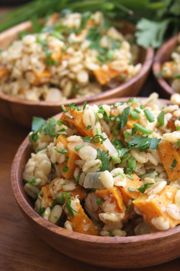 Pumpkin Barley Risotto with Roasted Sweet Potatoes - The Garlic Diaries