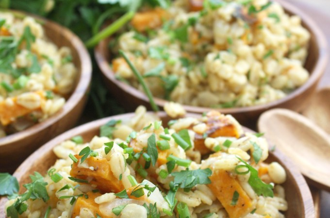Pumpkin Barley Risotto with Roasted Sweet Potatoes