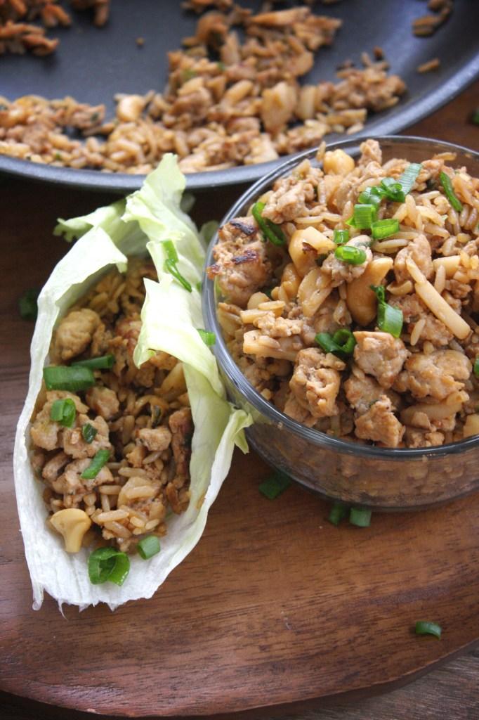 30 Minute Cashew Chicken Lettuce Wraps -- TheGarlicDiaries.com
