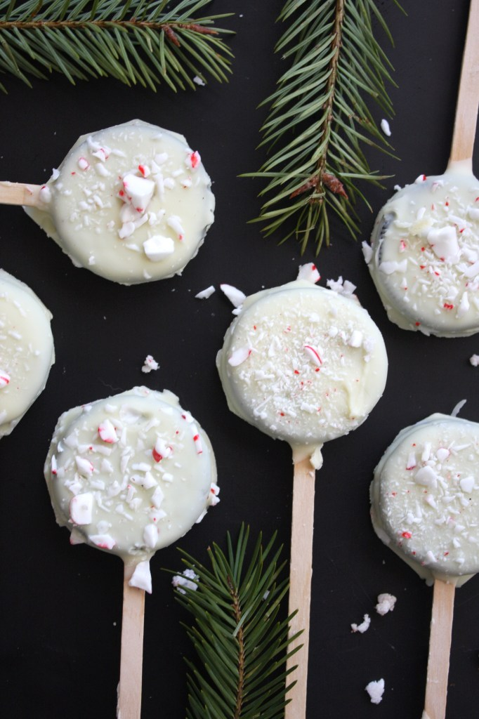 Peppermint Bark Oreo Pops - TheGarlicDiaries.com