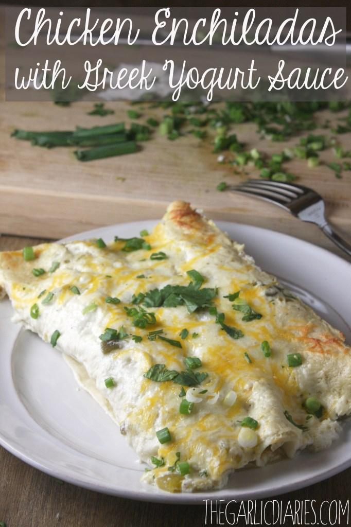 Chicken Enchiladas with Greek Yogurt Sauce -- TheGarlicDiaries.com