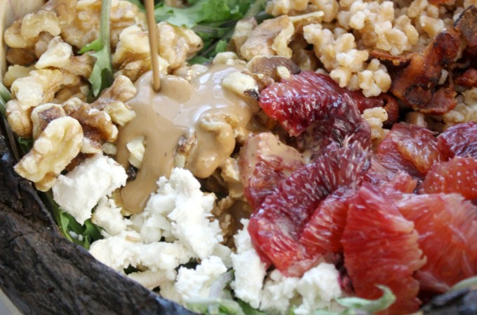 Baby Kale, Farro Salad with Creamy Balsamic Vinaigrette
