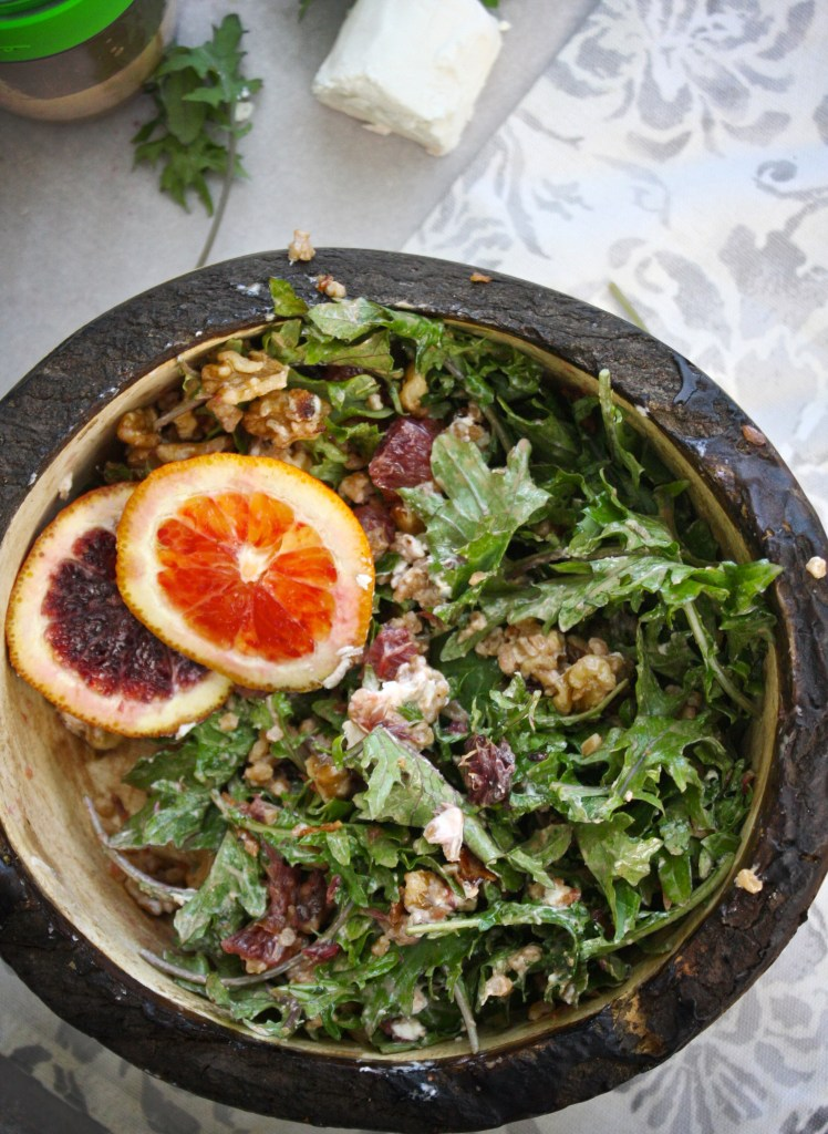 Baby Kale, Farro Salad with Creamy Balsamic Vinaigrette -- TheGarlicDiaries.com