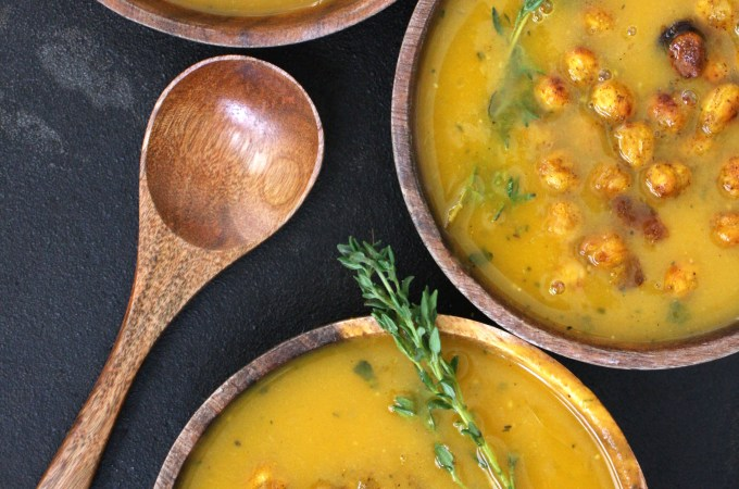 Butternut Squash Soup with Curry Roasted Chickpeas