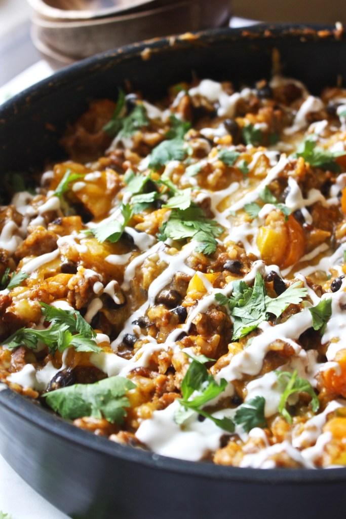 Healthy, Cheesy Taco Skillet - TheGarlicDiaries.com