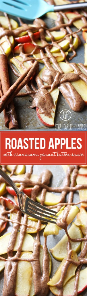 Roasted Apples with Cinnamon Peanut Butter Sauce -- TheGarlicDiaries.com