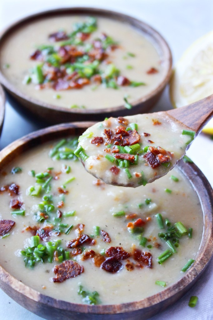 White Bean Soup with Bacon and Chives - easy, healthy, and delicious! *Gluten free* - TheGarlicDiaries.com