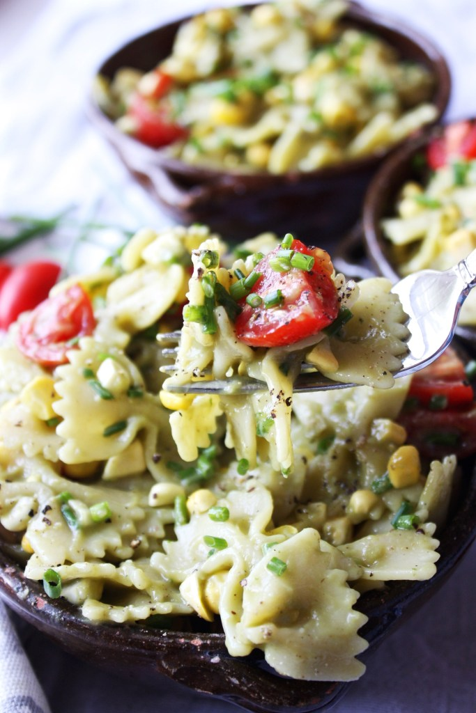 Pasta Salad with Avocado Sauce - This simple recipe uses avocado instead of mayonnaise to create the perfect, creamy sauce! TheGarlicDiaries.com