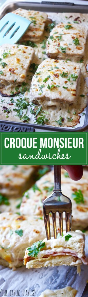 Croque Monsieur - The classic French ham and cheese sandwich, slathered with a cheesy bechamel sauce and baked! Easy and absolutely mouthwatering!! -- TheGarlicDiaries.com