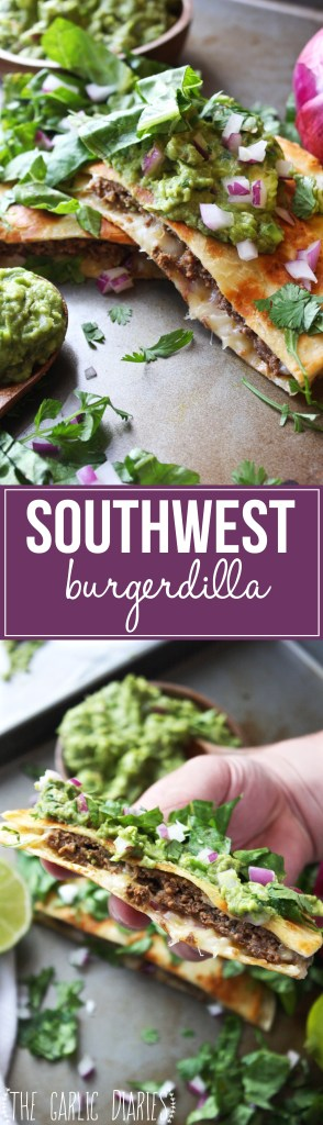 Southwestern Burgerdilla - A delicious mix between a juicy burger and a perfect quesadilla! The ground beef is packed with bold Mexican flavor, and the whole thing is topped off with a big dollop of fresh guacamole. Perfection! - TheGarlicDiaries.com