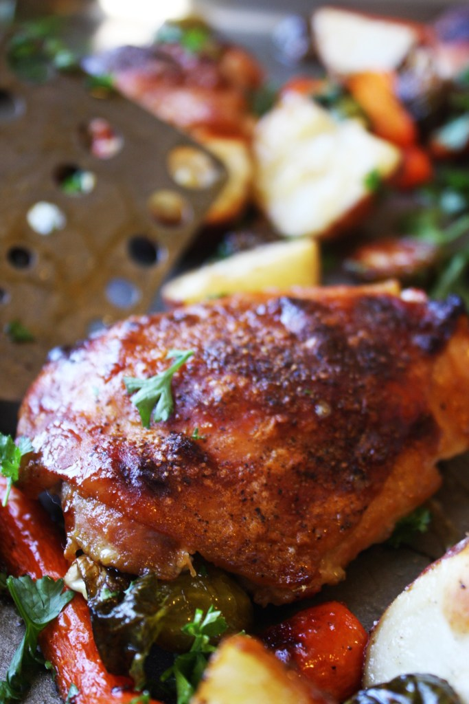 """One Sheet"" Brown Sugar, Dijon Chicken - Delicious, absolutely packed with flavor, and crazy simple. It's the perfect dinner for a busy weeknight! Gluten Free. -- TheGarlicDiaries.com"