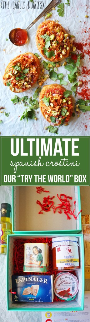 """The Ultimate Spanish Crostini - Created with the delicious ingredients from our Spain themed """"Try The World"""" box. So fun!! -- TheGarlicDiaries.com"""