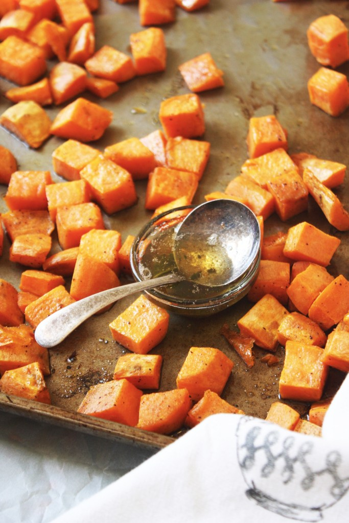 Brown Butter, Sage Roasted Sweet Potatoes - This easy, flavor packed, crowd pleasing side dish will be the star of your Thanksgiving spread! #glutenfree -- TheGarlicDiaries.com