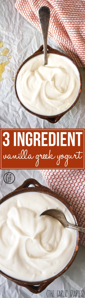 3 Ingredient Vanilla Greek Yogurt - Throw out your packaged vanilla Greek yogurt that is loaded with sugar and make this yummy, easy, and healthy version instead! TheGarlicDiaries.com
