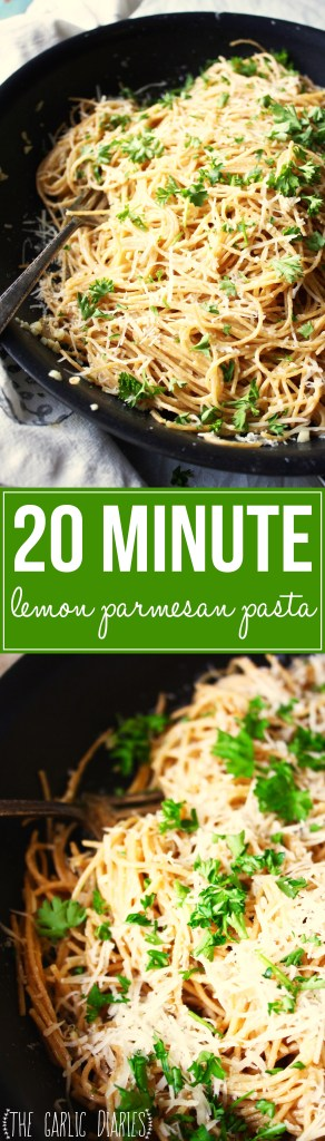 20 Minute Lemon Parmesan Pasta - Such a quick and easy meal that is packed with so much delicious flavor! Made with whole wheat pasta and a light, bright sauce, this pasta dish won't leave you feeling heavy. TheGarlicDiaries.com