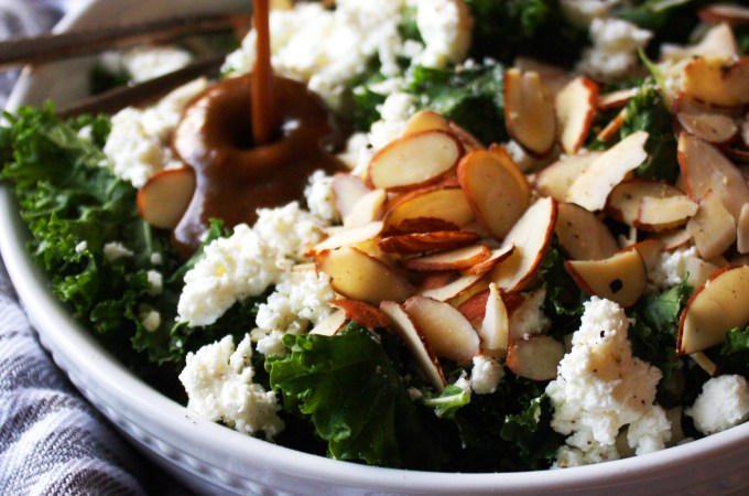 Warm Brown Rice and Kale Salad with Goat Cheese and Almonds