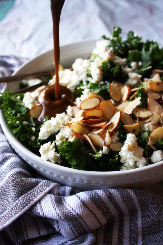 Warm Brown Rice and Kale Salad with Goat Cheese and Almonds [21 Day Fix friendly] - This healthy and filling salad is anything but boring! Creamy goat cheese, fresh kale, soft brown rice, and crunchy almonds all topped off with a tangy balsamic and dijon vinaigrette - you will be in love! #glutenfree #21dayfix TheGarlicDiaries.com