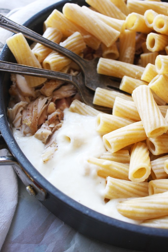 Skinny Chicken Alfredo - Less than 500 calories per serving but tastes just as rich and wonderful as your favorite Alfredo recipe! This stuff is seriously addicting... TheGarlicDiaries.com