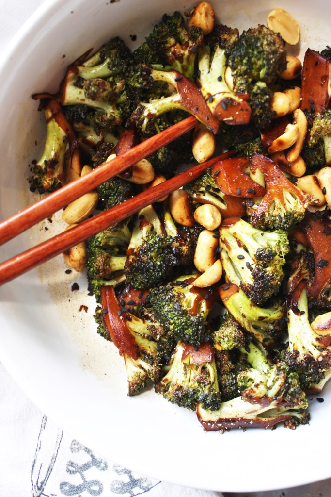 Soy Marinated Grilled Broccoli with Browned Peanuts [21 Day Fix] - This flavorful broccoli pairs perfectly with the toasted, nutty peanuts! A match made in heaven - #21dayfix #glutenfree TheGarlicDiaries.com