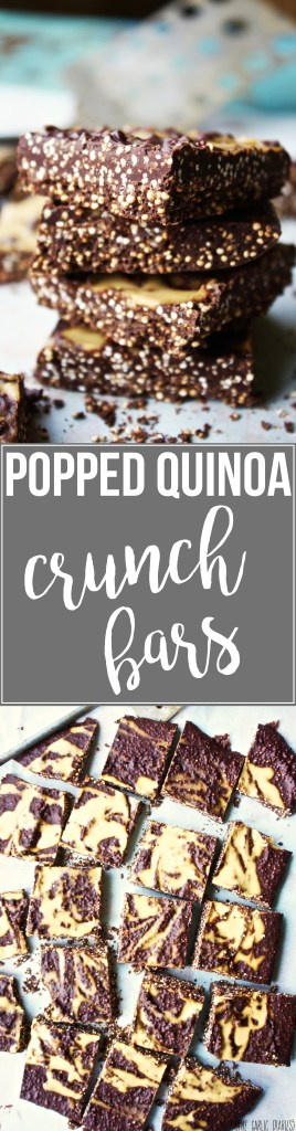 Popped Quinoa Crunch Bars - This healthy dessert gives you a good helping of crunchy, popped quinoa, but feels like a cheat! TheGarlicDiaries.com