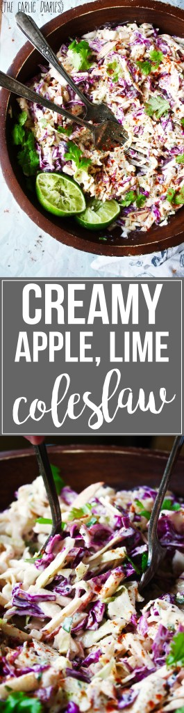 Creamy Apple Lime Coleslaw - The apple in this coleslaw is the key ingredient! It takes the classic dish to a whole new level. The sweetness and crunch are so satisfying! #glutenfree #vegetarian - TheGarlicDiaries.com