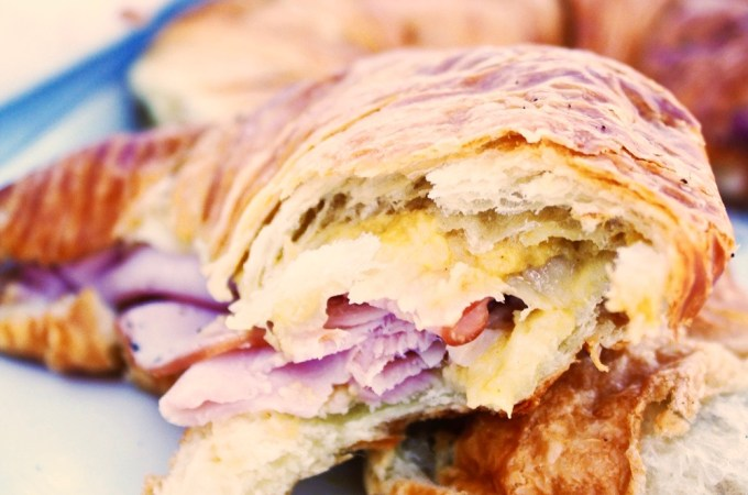 Baked Ham and Swiss Croissants with Honey Mustard Sauce