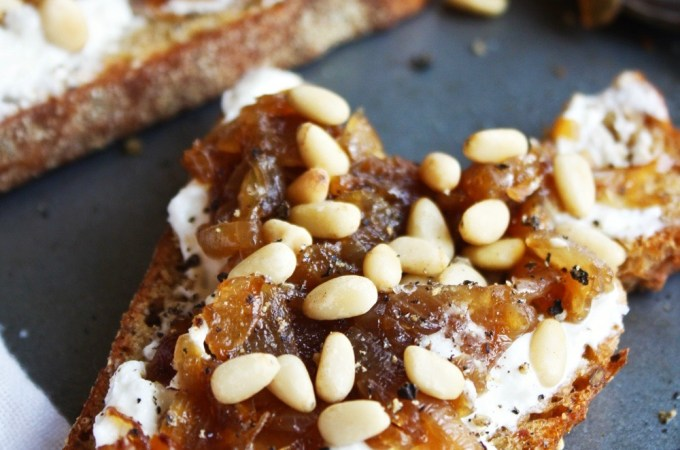 Goat Cheese, Caramelized Onion, and Pine Nut Toasts