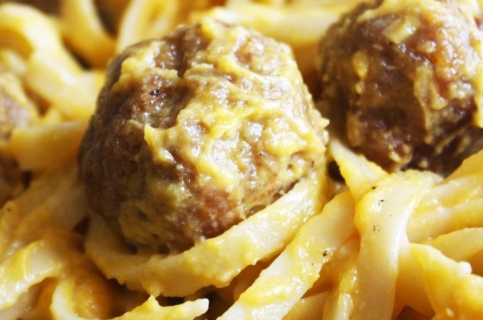 Fettuccine and Meatballs with Butternut Squash Sauce