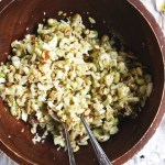 Chopped Cauliflower Salad - Tender roasted cauliflower diced up and tossed with celery, almonds, and fennel and drizzled with a delicious lemon vinaigrette! Such a hearty and delicious salad that's perfect for fall! TheGarlicDiaries.com