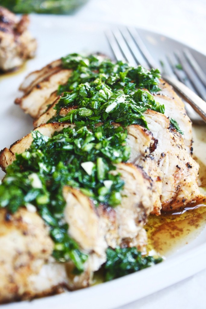 This Chimichurri Chicken is a wonderful, super easy weeknight dinner that comes together in less than thirty minutes and tastes fresh, healthy, and SO delicious!! TheGarlicDiaries.com
