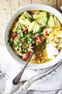 This 25 Minute Dump and Go Taco Soup will revolutionize your healthy and CRAZY simple weeknight dinner game! It seriously doesn't get any easier than this, and it's so yummy! TheGarlicDiaries.com