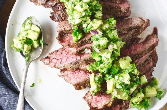 Steak with Spicy Cucumber Salsa - This delicious, medium rare steak is paired with the most delicious, fresh, spicy cucumber salsa! A super flavorful weeknight dinner! #whole30 #paleo TheGarlicDiaries.com