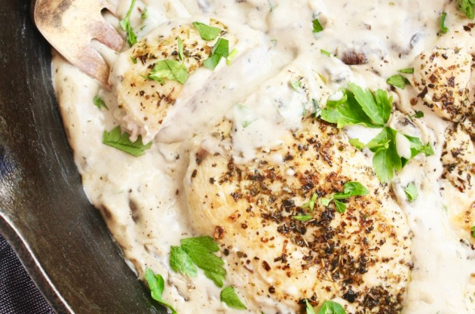Creamy Mushroom Thyme Chicken (Dairy Free!) - No one will believe this delicious, rich chicken skillet is dairy free! It's creamy, dreamy, smooth, and luscious. And the flavor is out of this world! TheGarlicDiaries.com