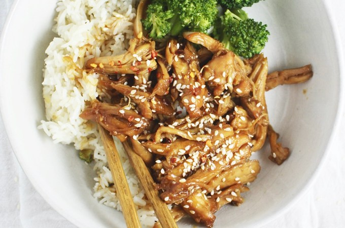Instant Pot Teriyaki Chicken Bowls - This chicken could legit not be easier OR more delicious! Insanely tender, coated in lots of sweet, savory teriyaki sauce - it's heaven!
