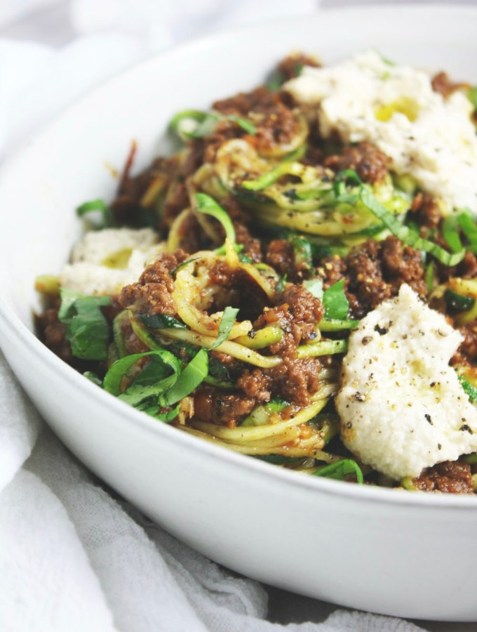 "Whole 30 Bolognese with Dairy Free ""Ricotta"" - talk about some satisfying comfort food, this bolognese is deeply flavorful, hearty, and so comforting folded into a bowl of noodles, zoodles, or spaghetti squash!"