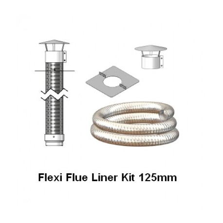 Mi-Flues Flexible Flue Liner Mini Kit 125mm, Various