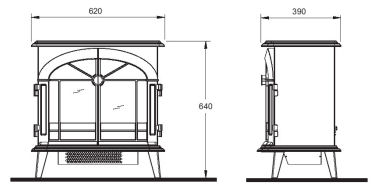 Electric Stove Dimplex Stockbridge SKG20BL Freestanding