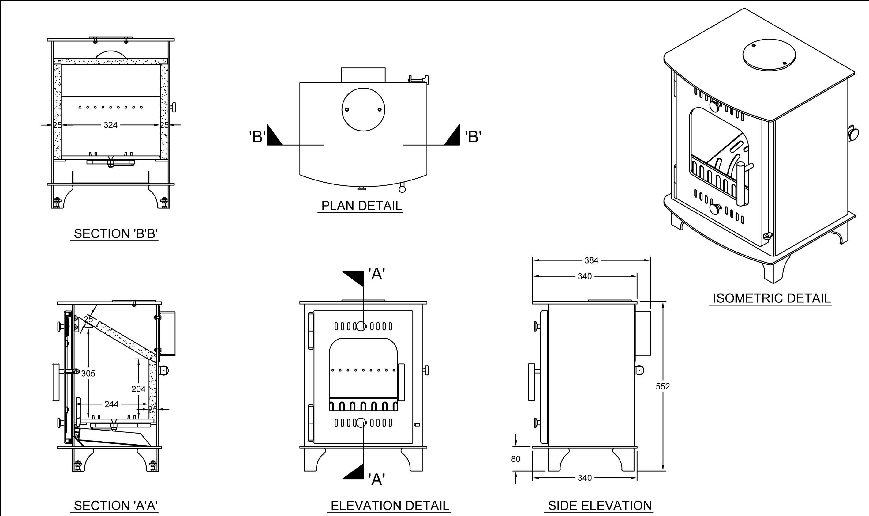 Inset Solid Fuel Stove Boru Fiachra 7.0Kw Output