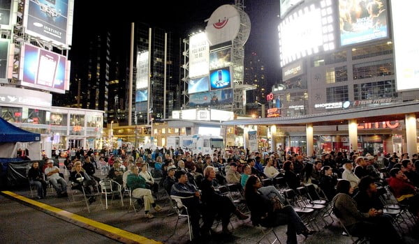 A scene from Yonge & Dundas Square, 2008