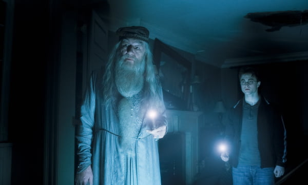 Michael Gambon and Daniel Radcliffe in Harry Potter and the Half-Blood Prince