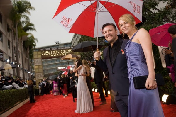 Ricky Gervais arrives at the Golden Globes