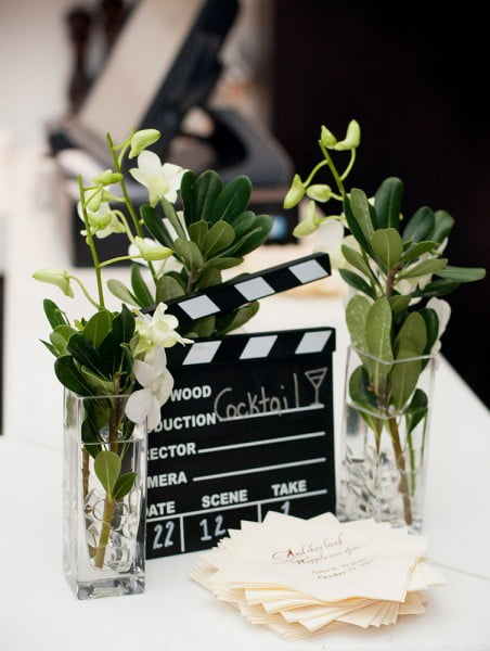 Flowers and movie clapboard