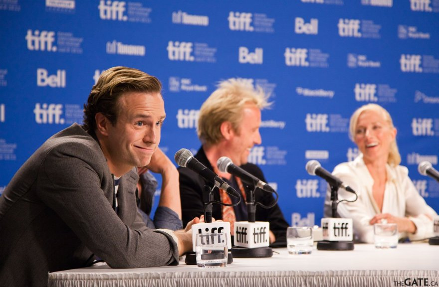 Rafe Spall at the TIFF 2011 press conference for Anonymous