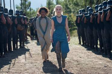 Nathalie Emmanuel as Missandei and Emilia Clarke as Daenerys