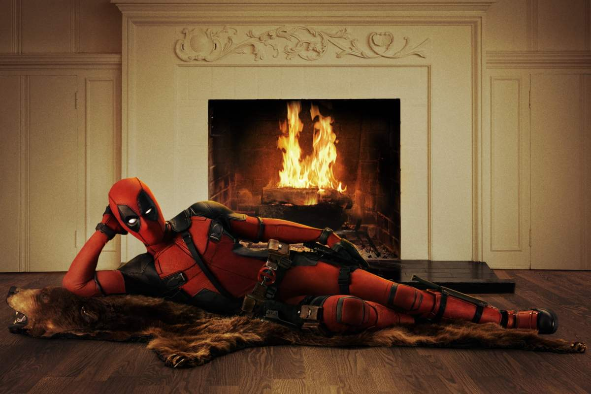 Deadpool by the fireplace